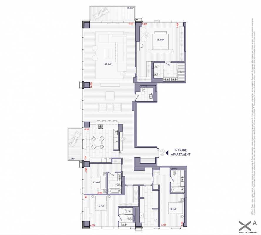 Penthouse cu 4 dormitoare de vânzare Blueprint
