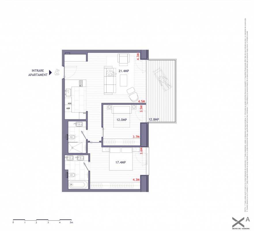 Apartament cu 2 dormitoare de vânzare Blueprint