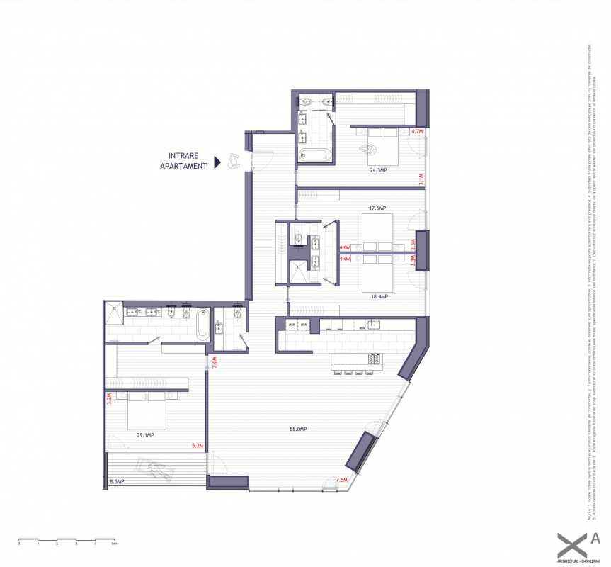 Apartament cu 4 dormitoare de vânzare Blueprint