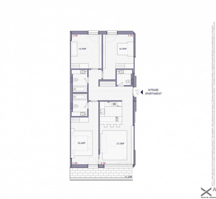 Apartament cu 3 dormitoare de vânzare Blueprint