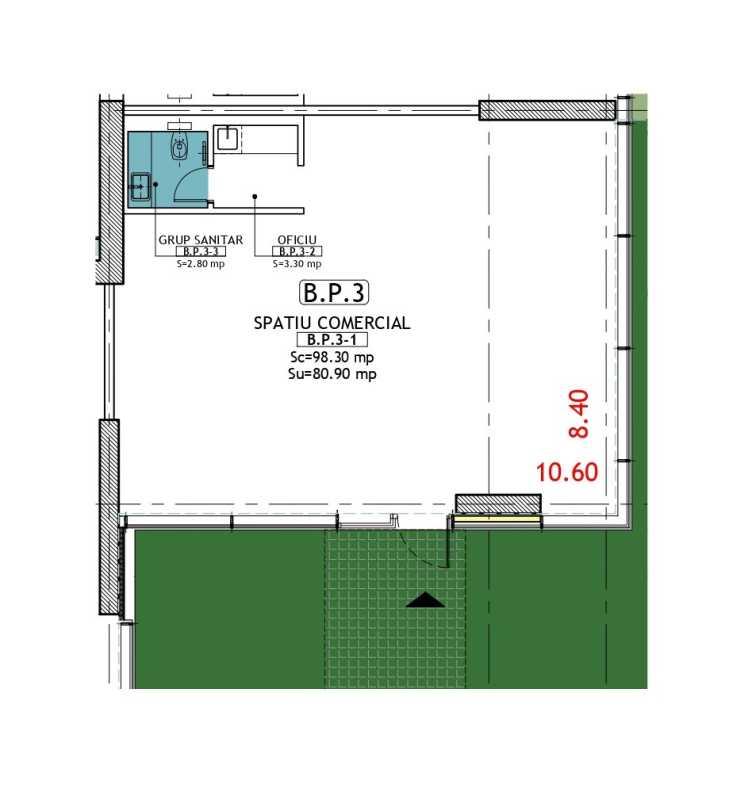 Spațiu Comercial de 98,30 m² de vânzare Blueprint
