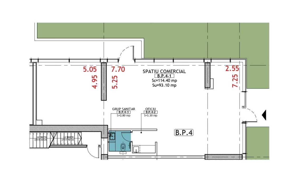 Spațiu Comercial de 114,40 m² de vânzare Blueprint