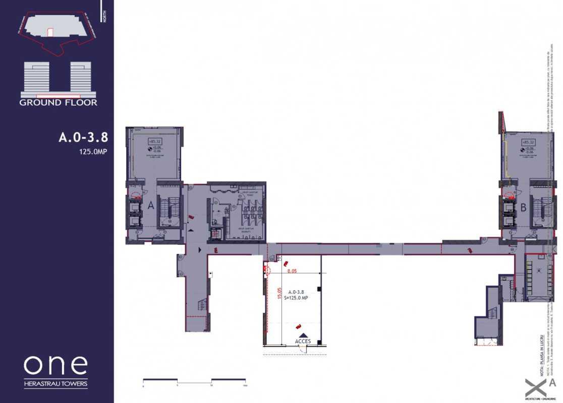 Spațiu Comercial de 125,00 m² de vânzare Blueprint