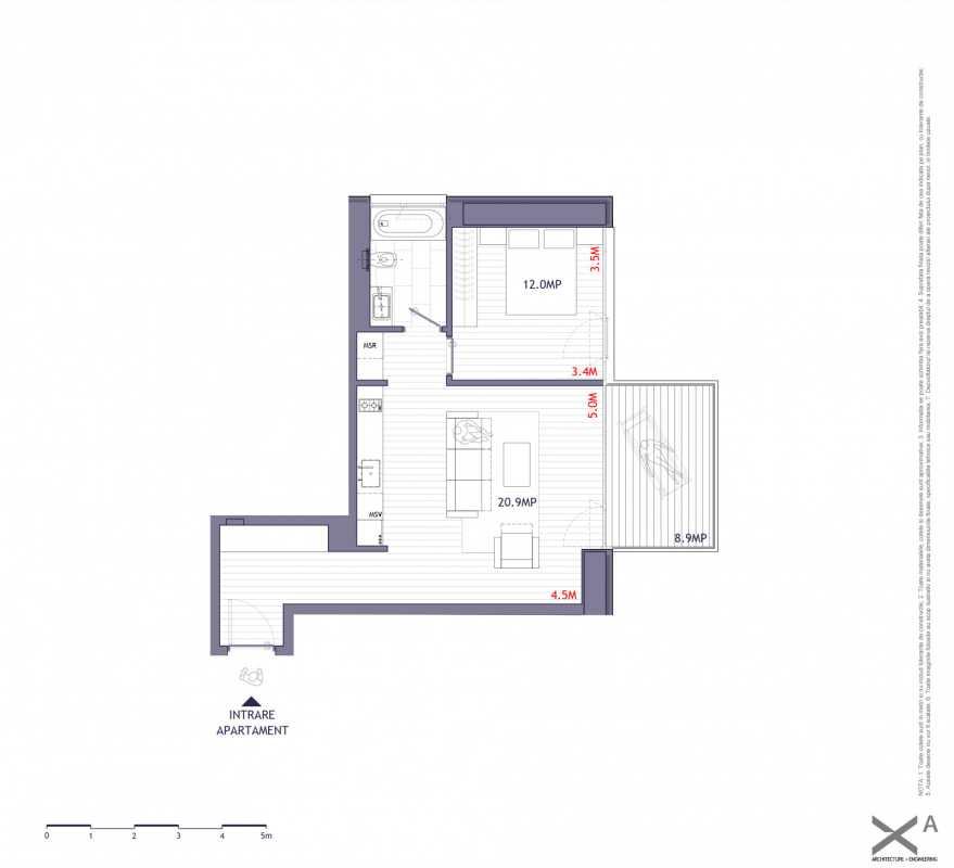 Apartament cu 1 dormitor de vânzare Blueprint