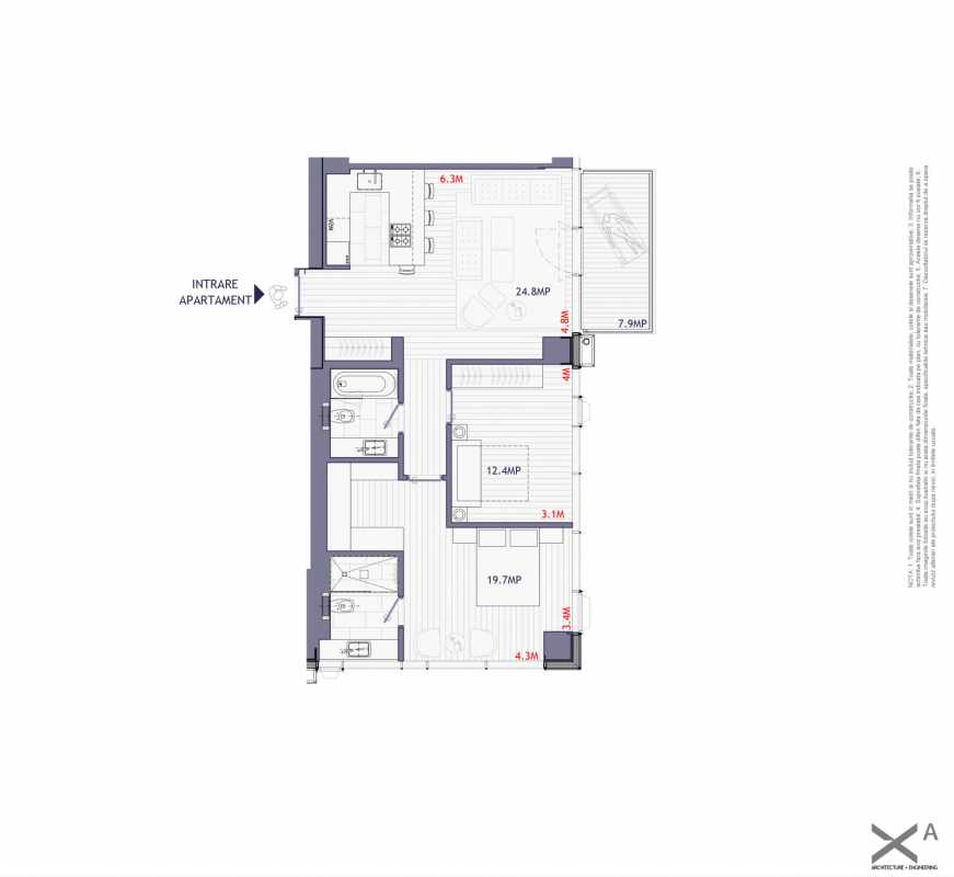 2 Bedroom Apartment For Sale In One Mircea Eliade Blueprint