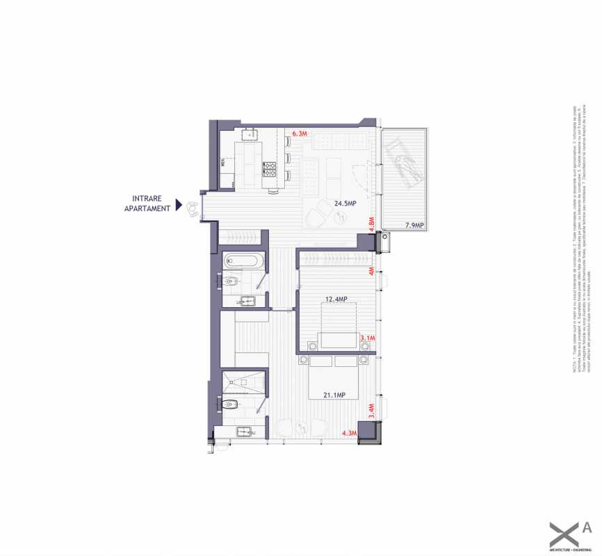 2 Bedroom Apartment For Sale In One Mircea Eliade Blueprint