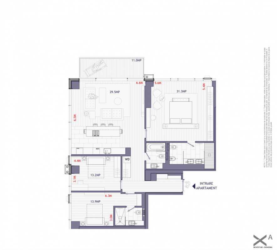 3 Bedroom Apartment For Sale In One Mircea Eliade Blueprint