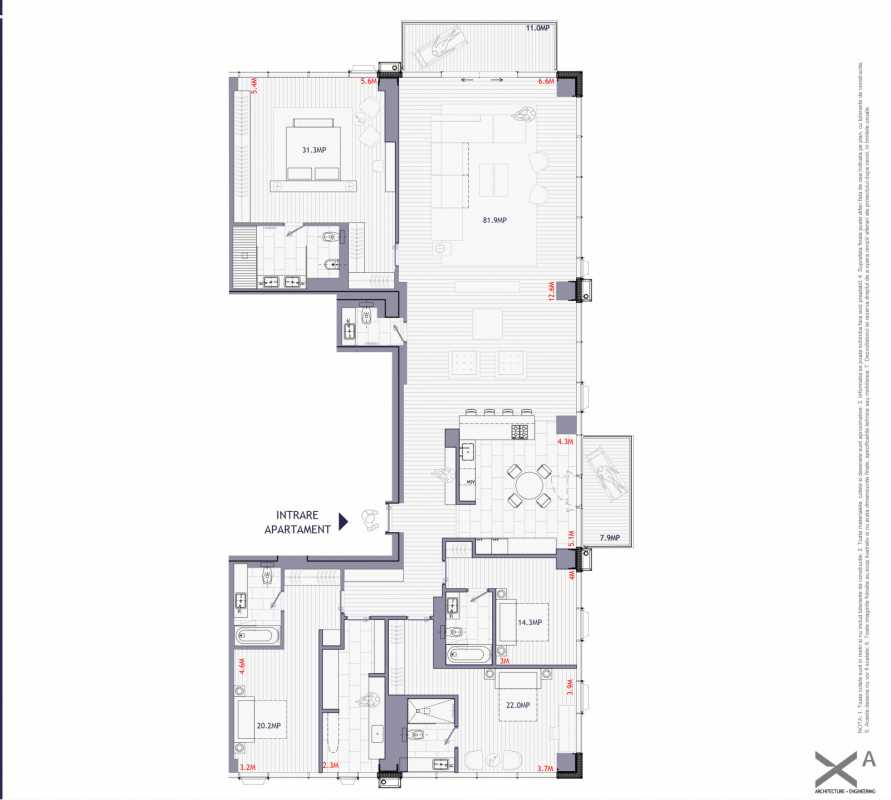 4 Bedroom Penthouse For Sale In One Mircea Eliade Blueprint