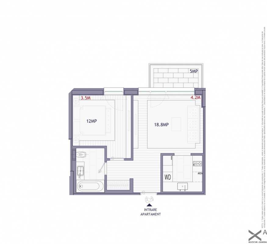 1 Bedroom Apartment For Sale In Neo Timpuri Noi Blueprint