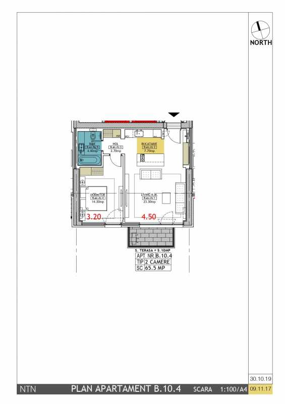 1 Bedroom Apartment For Sale In Neo Timpuri Noi Blueprint