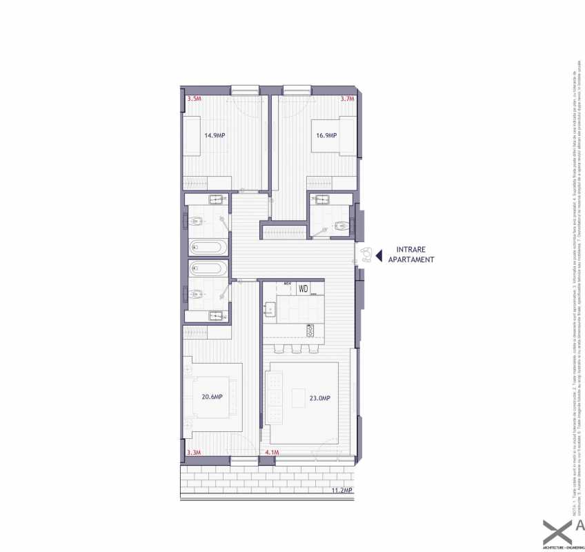 3 Bedroom Apartment For Sale In Neo Timpuri Noi Blueprint