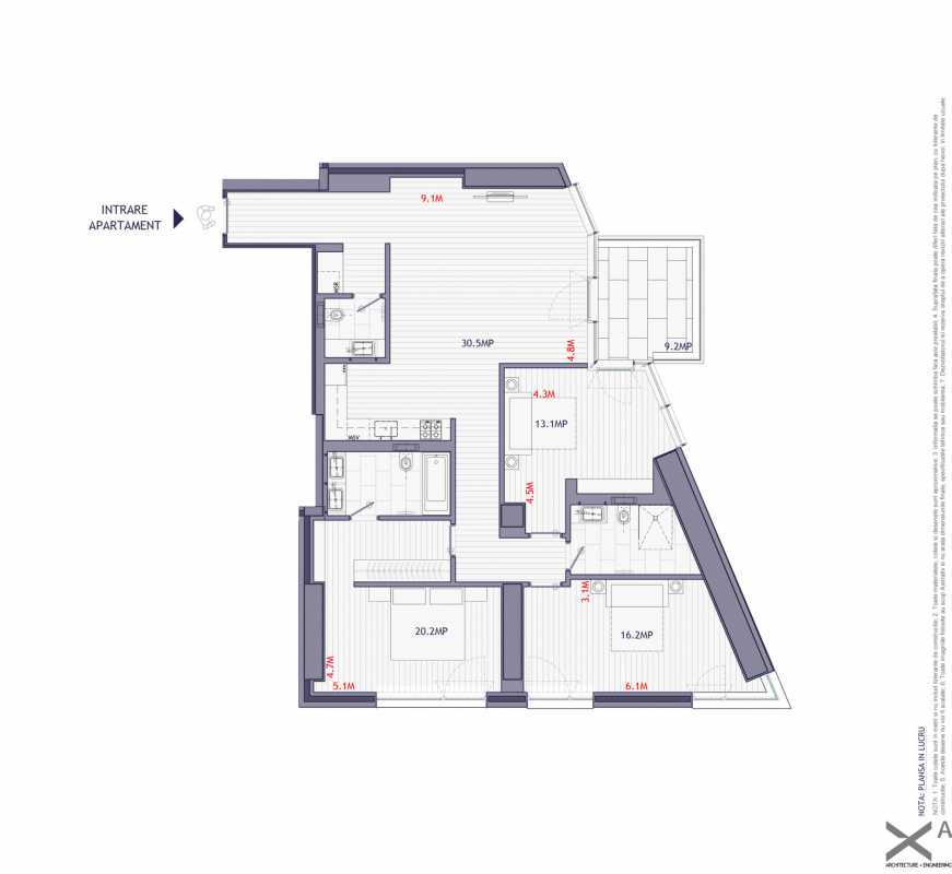 3 Bedroom Apartment For Sale In One Herastrau Towers Blueprint