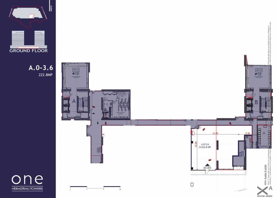 222.8 sqm Commercial Space For Sale In One Herastrau Towers Blueprint