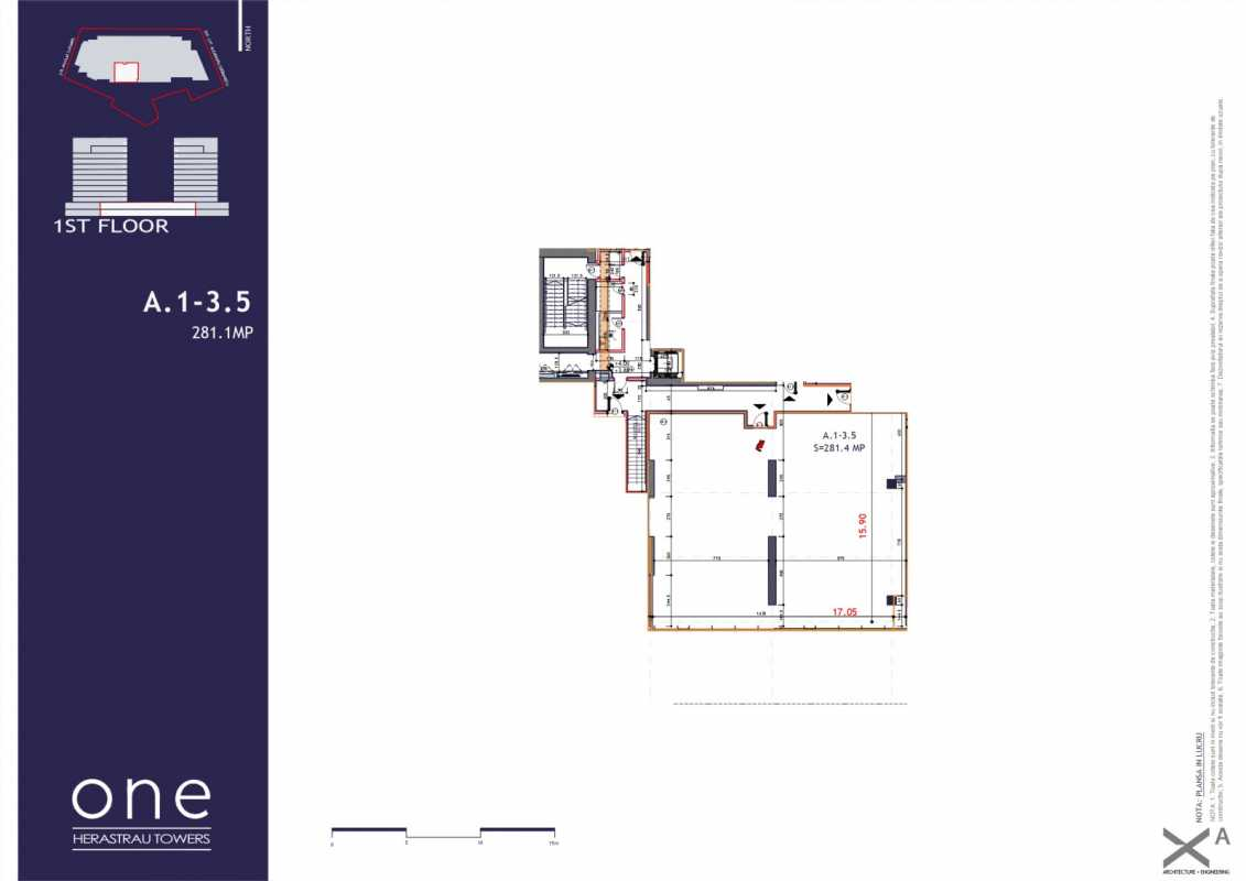 131.5 sqm Commercial Space For Sale In One Herastrau Towers Blueprint