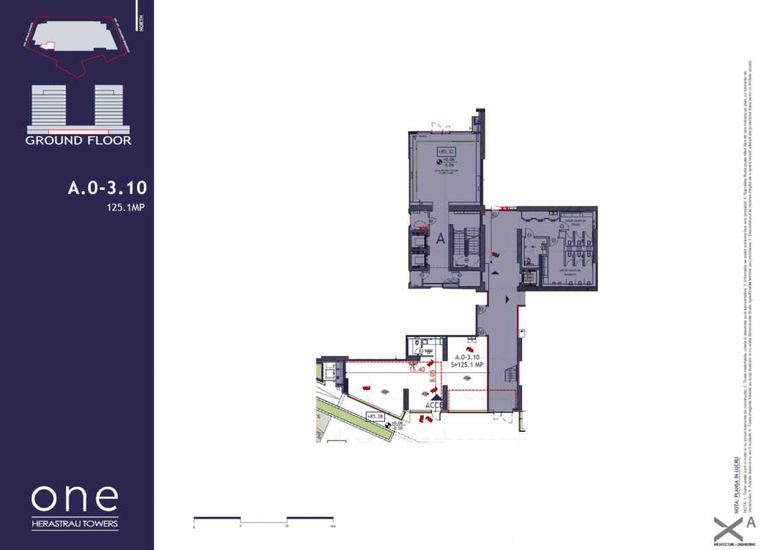 125.1 sqm Commercial Space For Sale In One Herastrau Towers Blueprint