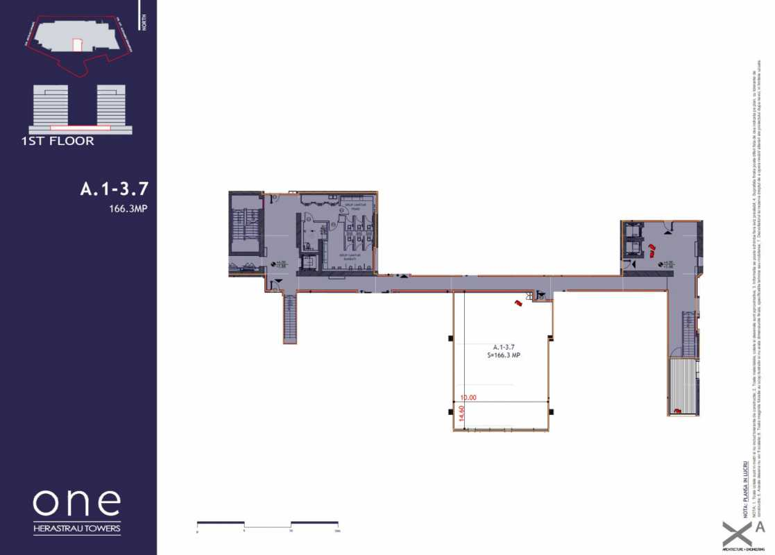 166.3 sqm Commercial Space For Sale In One Herastrau Towers Blueprint