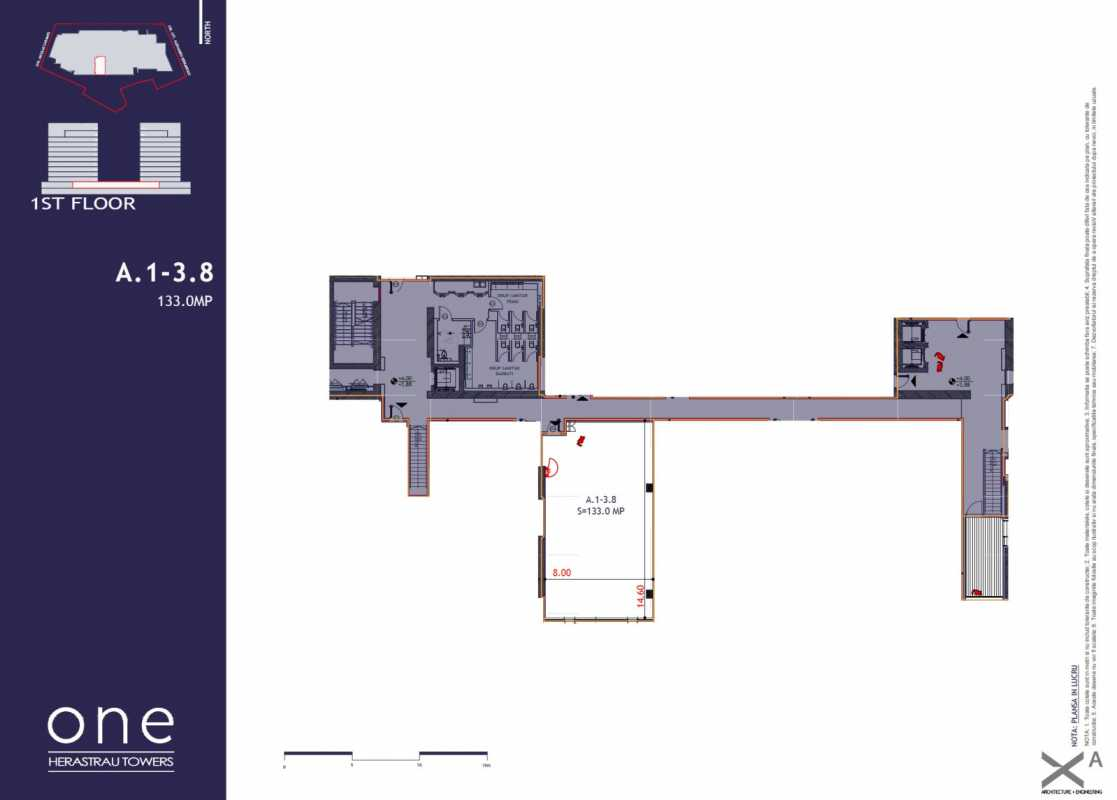 133.0 sqm Commercial Space For Sale In One Herastrau Towers Blueprint