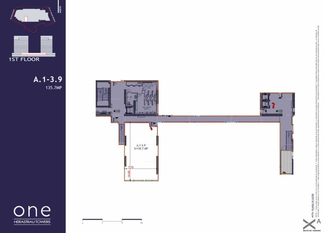 135.7 sqm Commercial Space For Sale In One Herastrau Towers Blueprint