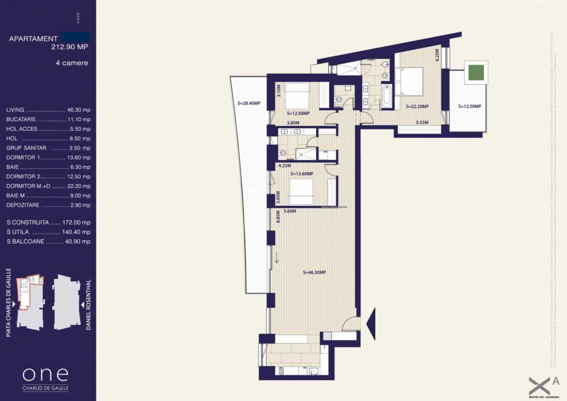 3 Bedroom Apartment For Rent In One Charles De Gaulle Blueprint